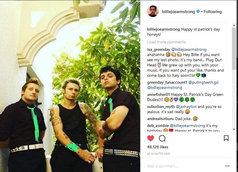 Instagram post from Billie Joe. Happy #G...