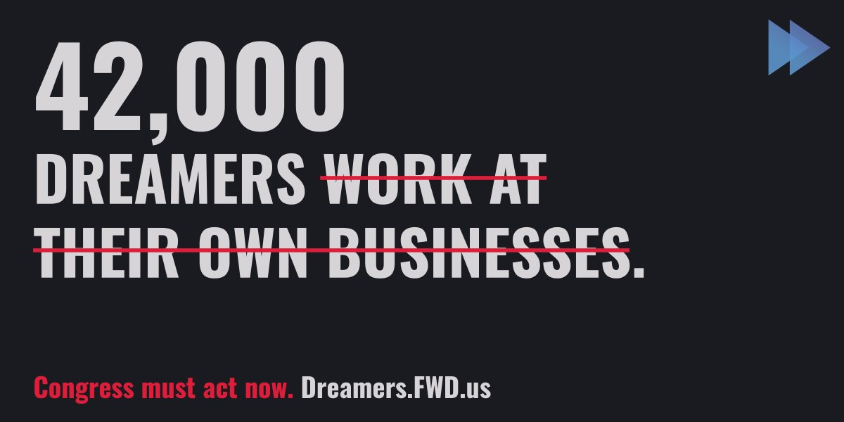 Dreamers are entrepreneurs and business owners. In fact, 42,000 Dreamers work at their own businesses. The choice is clear: Congress must take decisive action and pass legislation to #ProtectDreamers NOW. https://t.co/zbnFs5Ln85