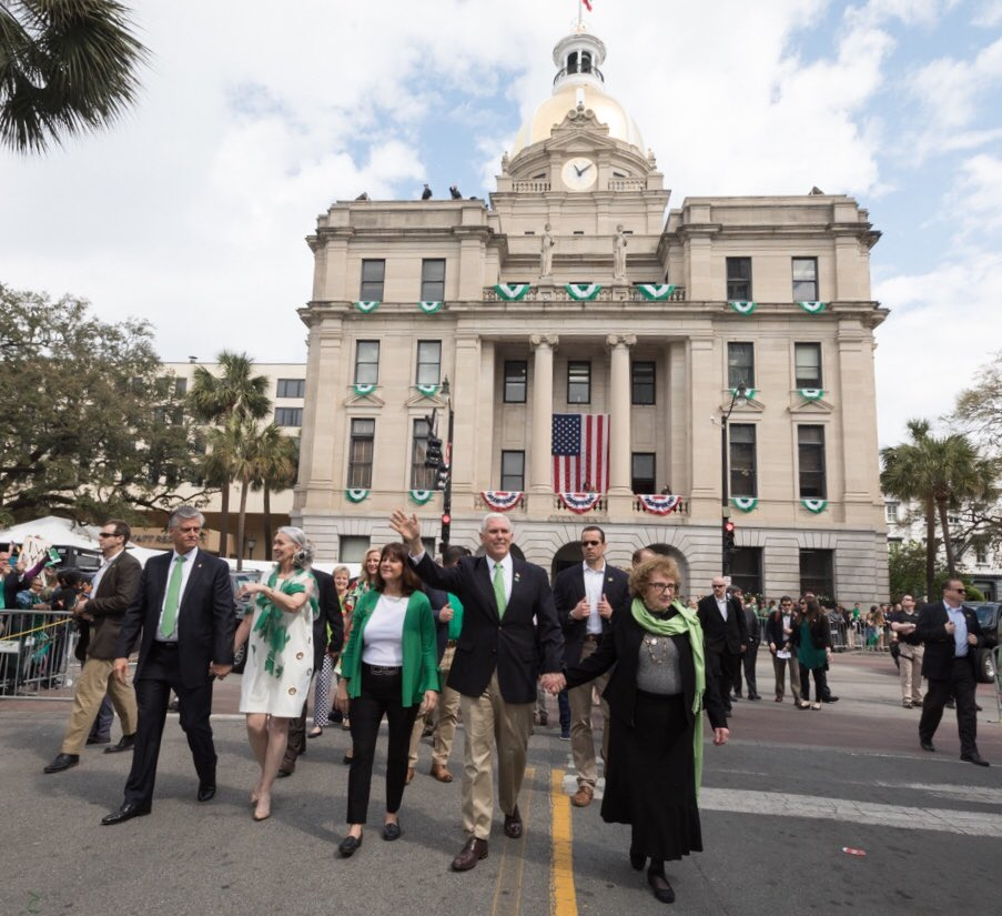 HUGE crowd today in Georgia! Karen & I were honored to walk with my mom Nancy in the Savannah #StPatricksDay Parade. Thanks Mayor DeLoach for hosting us & grateful to all who turned out. Happy St. Patrick's Day! #SavStPats