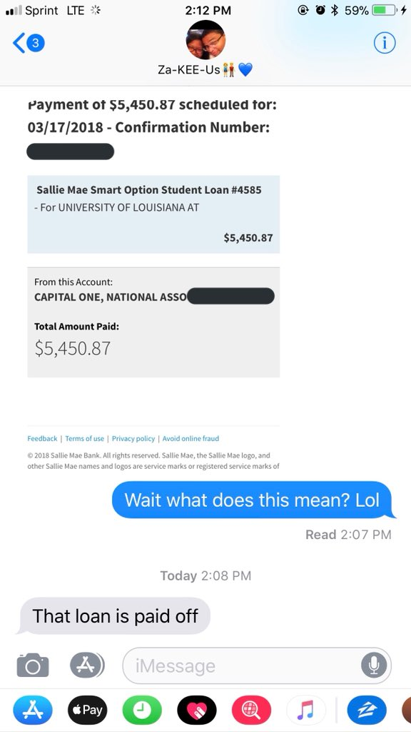 Wow. My brother paid off one of my student loans. A man, a brother, I can't. ????