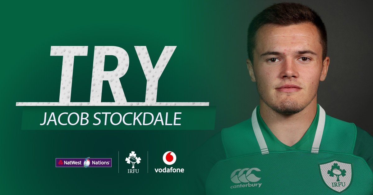 TRY for Ireland scored by @JacobStockdale! England 5-19 IRELAND #ShoulderToShoulder #TeamOfUs #ENG