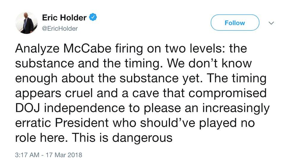 Obama AG rips McCabe firing: It's a dangerous attempt to please an 'increasingly erratic president' https://t.co/xPsFtBHzxr