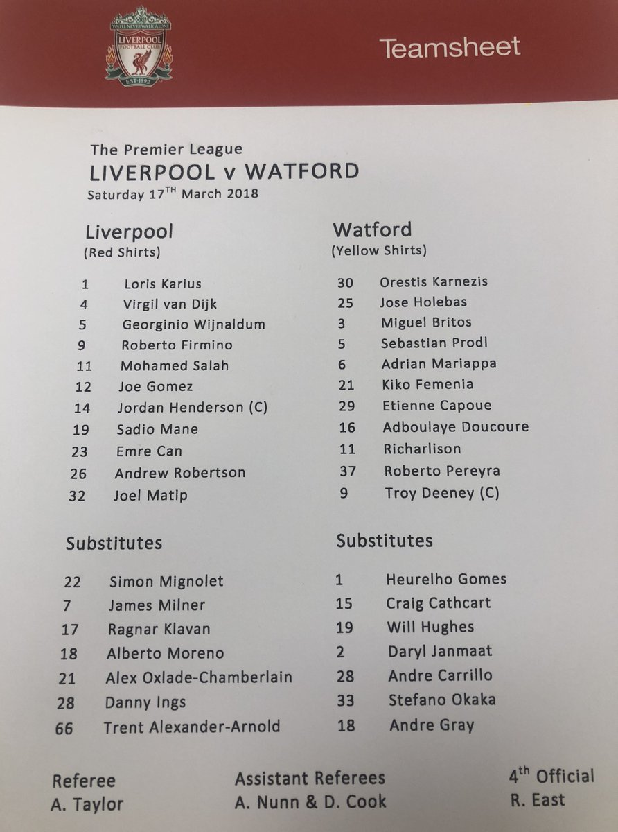 Full #LFC v #WatfordFC teamsheet from Anfield