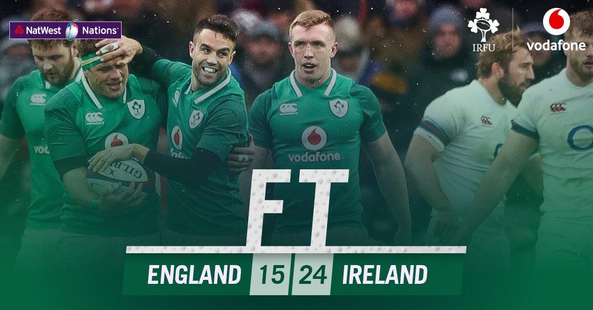 Full Time score - England 15-24 IRELAND. IRELAND win the Grand Slam! #ShoulderToShoulder #TeamOfUs #ENGvIRE