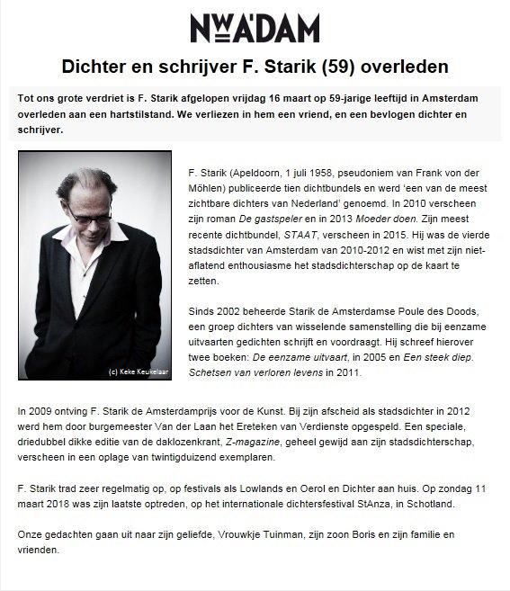 Amsterdamse Uitvaartdichter F Starik 59 Overleden Nos