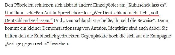 Bei der 'Welt' arbeiten richtige Experten.   Andere beliebte 'Antifa-Sprechchöre': - Deutschland den Deutschen, Ausländer raus - Wir machen aus dem Kölner Dom den größten Puff der Welt - Vollgepackt mit tollen Sachen, die das Leben schöner machen, hinein ins Weekend-Feeling