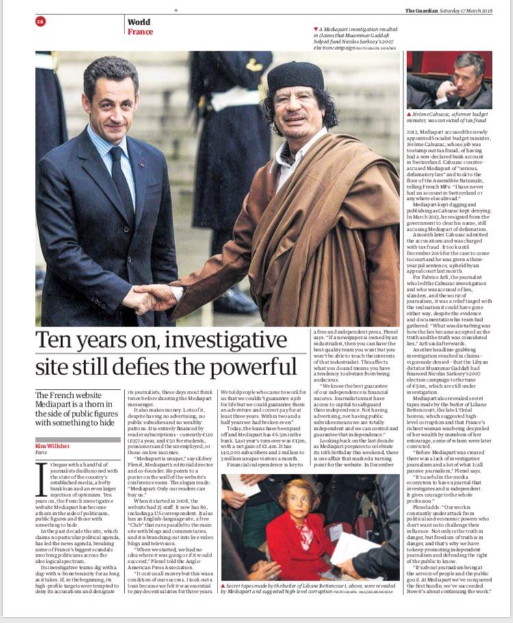 Pleine page ce matin dans la version imprimée du @guardian sur @mediapart pour ses dix ans. Canon.