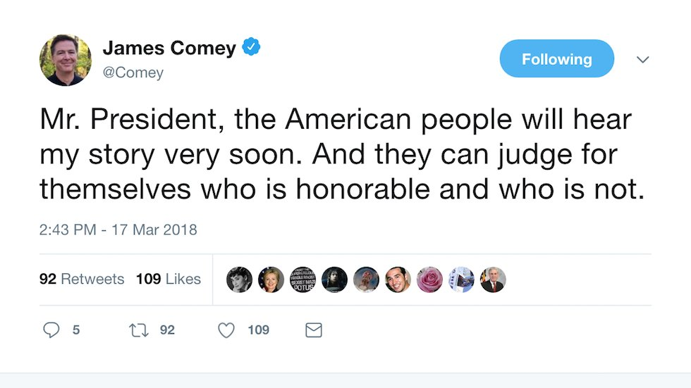 JUST IN: Comey warns Trump: Americans 'can judge for themselves who is honorable and who is not' https://t.co/f3Rf2jdsmz