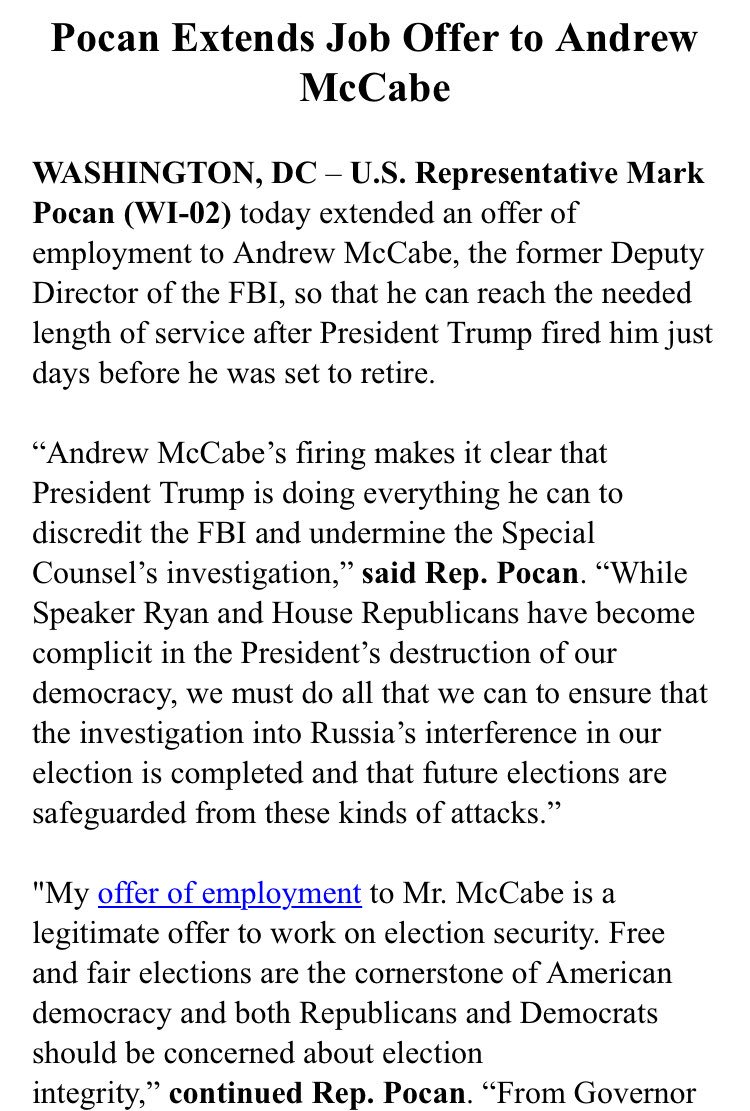 It's a stunt but Rep. Pocan (D-Wisc.) has offered a job to McCabe handling election security: