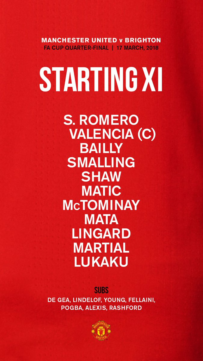The team news is in, #MUFC fans! Here's our starting XI for tonight's #FACup quarter-final...