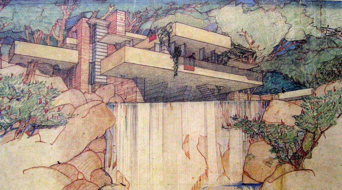 Rendering of Fallingwater Frank Lloyd Wr...