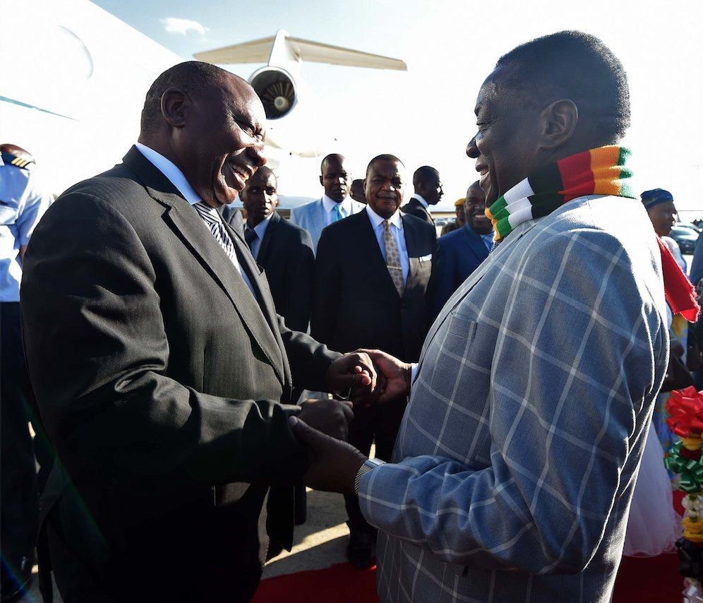 President Cyril Ramaphosa and President Emmerson Mnangagwa during their official talks in Harare, Zimbabwe.