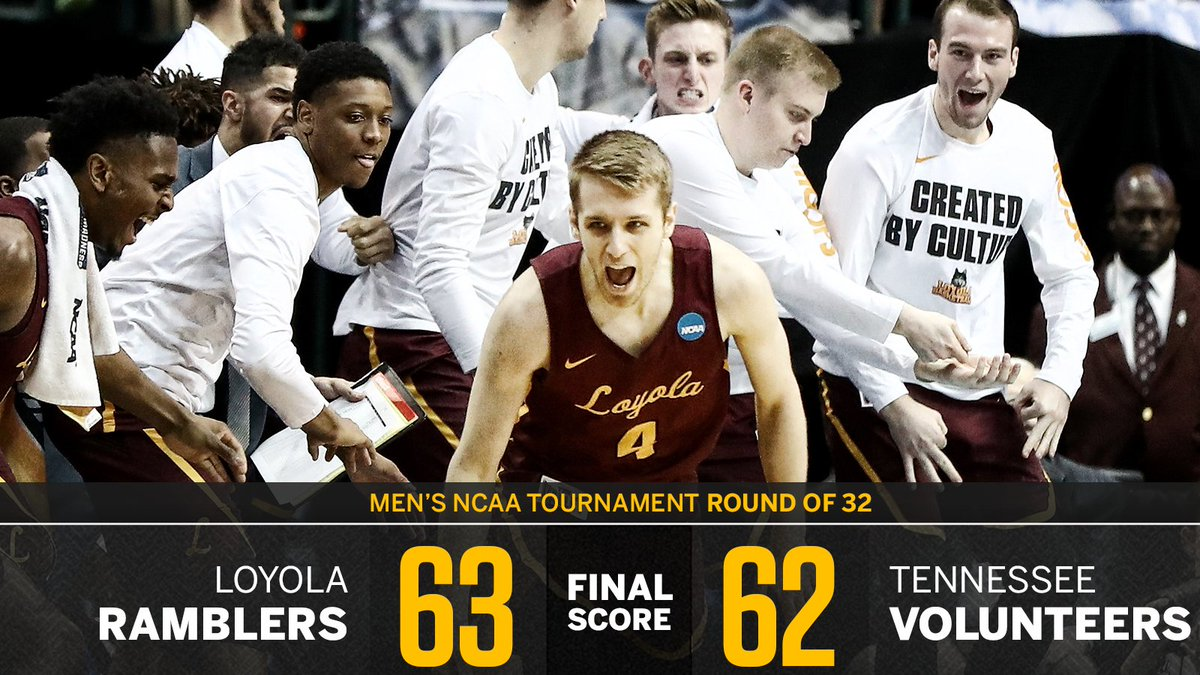 LOYOLA DOES IT IN THE FINAL SECONDS!   The Ramblers are headed to the Sweet 16 for the first time since their last tourney appearance in 1985.
