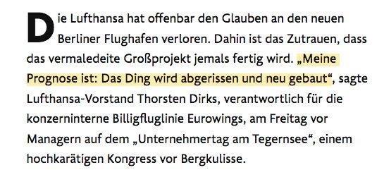 """Die FAZ-Meldung """"Die Lufthansa rät: BER abreißen!"""" scheint ja super zu laufen. Bisschen blöd nur, dass im Text selbst von einem *Rat* gar keine Rede mehr ist, sondern von einer *Prognose*. https://t.co/xcuJhCmNJ6"""