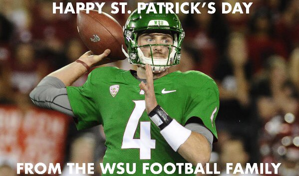 Happy St. Patrick's Day! Luke had such a great career at WSU, he can even make green look good! #GoCougs