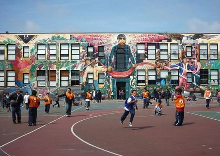Here's the school. Some of the best murals in the Mission. Look at those kids. Open your wallets.