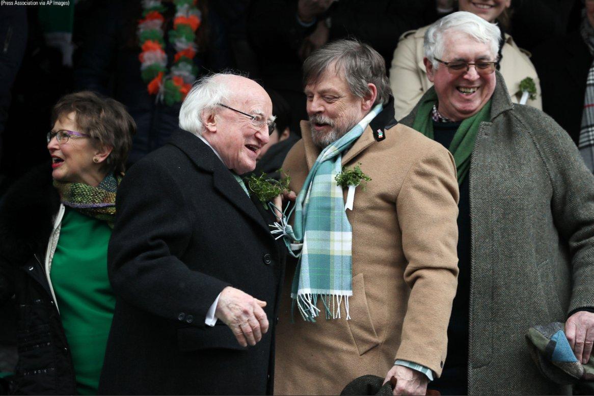 .@starwars actor @HamillHimself celebrates #StPatricksDay in Dublin, Ireland with President Michael D Higgins. https://t.co/35v3IH2gHH