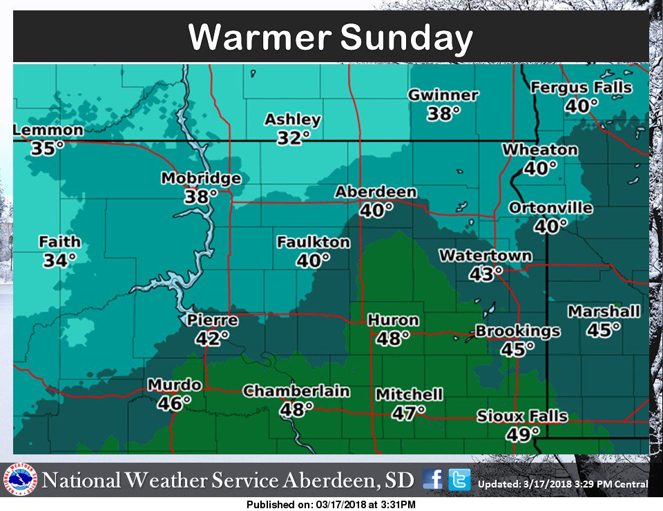 Mild temps again for Sunday but we could see some moisture move back into the area Monday with an inch or two accumulations #SDWX