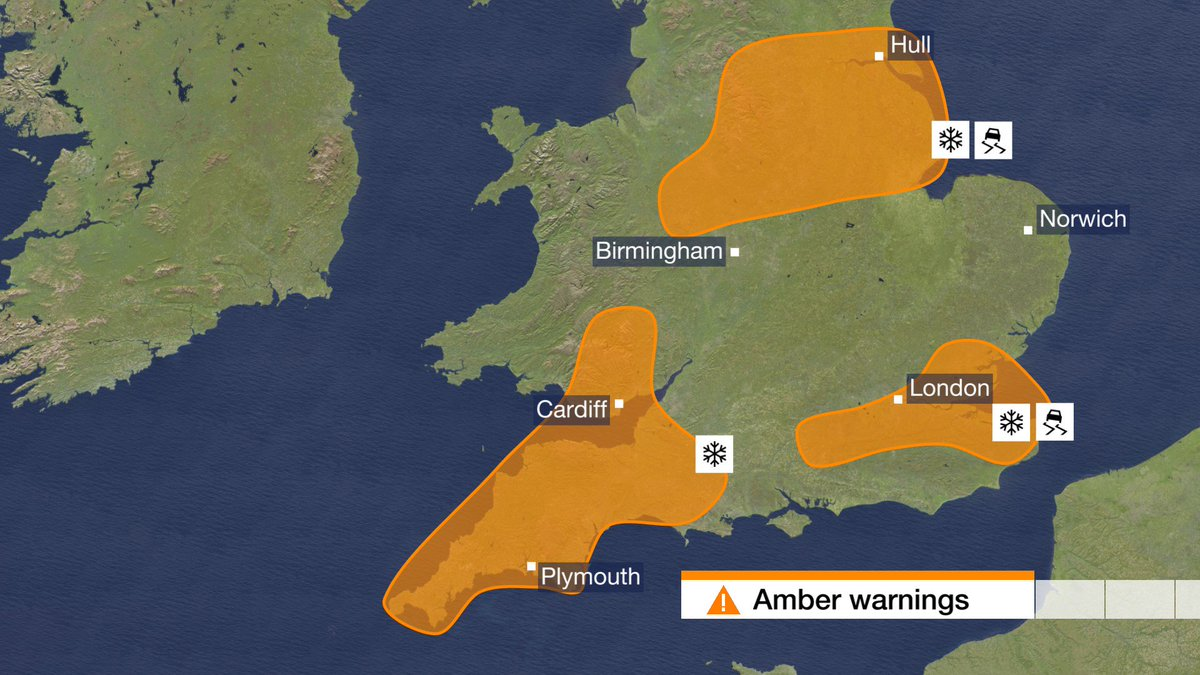 Met Office warnings are in force for #snow and #ice tonight and tomorrow - get the latest on our website: https://t.co/gEfFBCrhzm Ben R