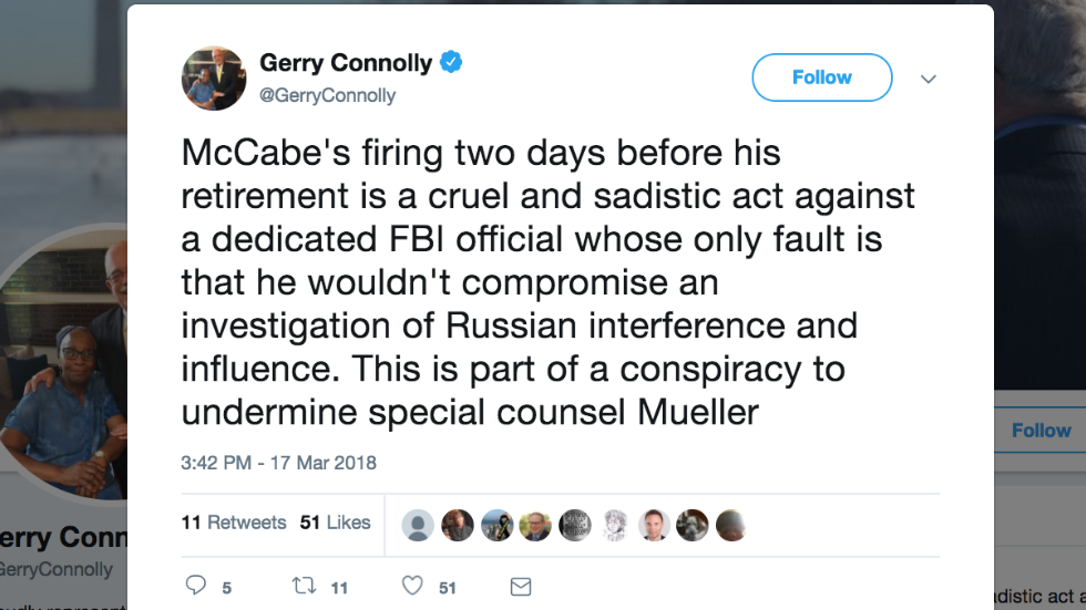 Dem lawmaker: McCabe's firing part of conspiracy to undermine Mueller https://t.co/zvEnFk6tvb