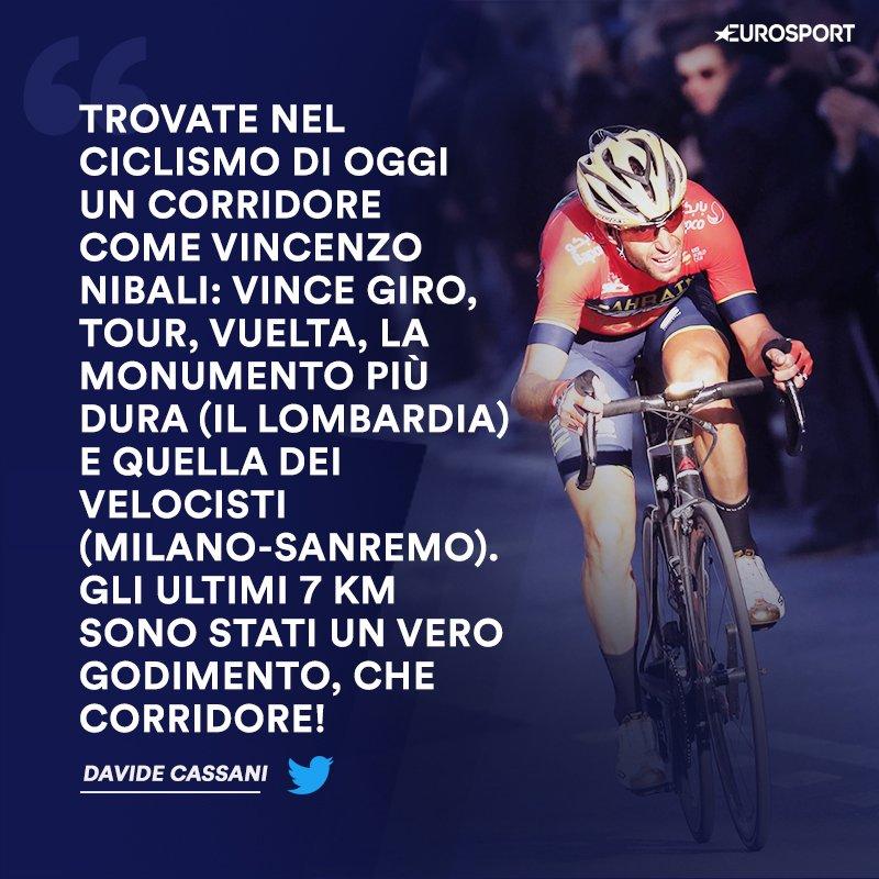 Il commissario tecnico @davidecassani esalta la grandezza di @vincenzonibali dopo l'impresa alla Milano Sanremo 🇮🇹😍🙏  ► https://t.co/olVuBfjQ5b    #EurosportCICLISMO | #MSR