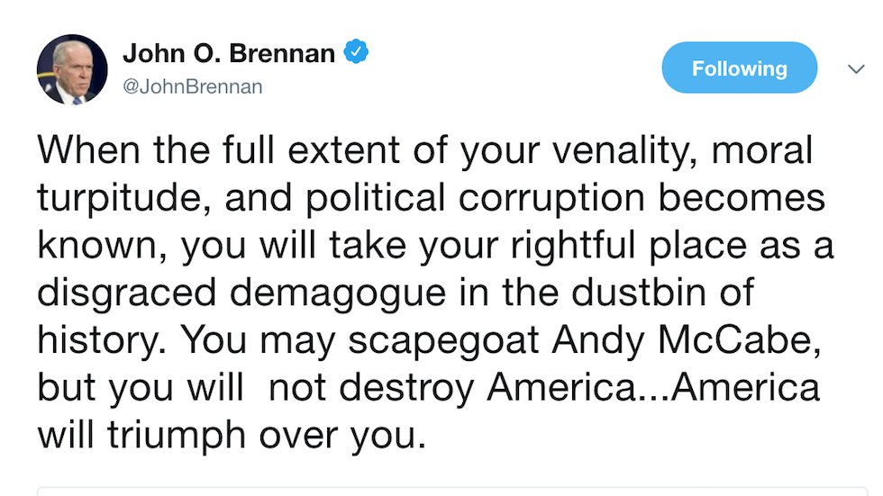 Ex-CIA director shreds Trump after McCabe firing: You'll be remembered as a 'disgraced demagogue' https://t.co/cd58T5J1ub