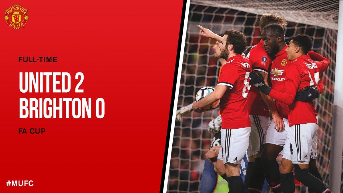 試合終了: #MUFC 2-0 ブライトン  @RomeluLukaku9 とマティッチのゴールにより、ウェンブリーで開催される #FACup 準決勝に進出!