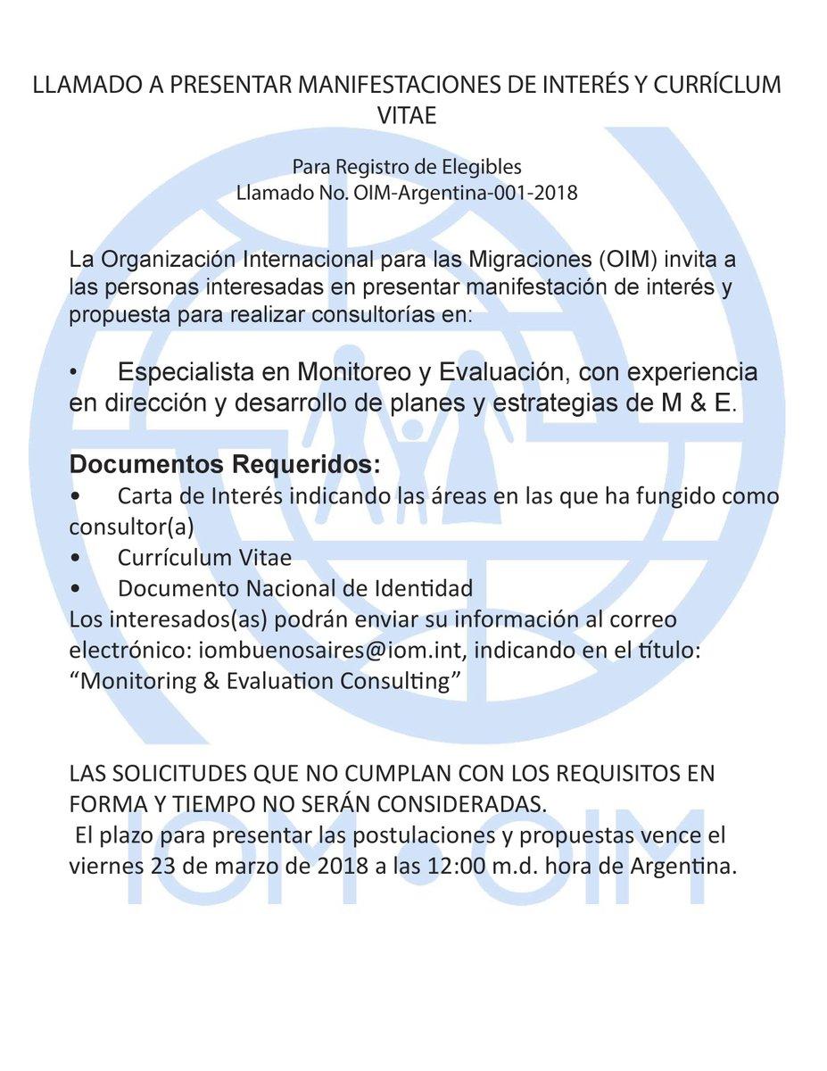 Oim Argentina En Twitter Oportunidad Laboral En