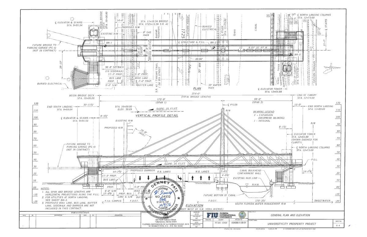 Fiu bridge key design change stymied bridge cost for Florida blueprint