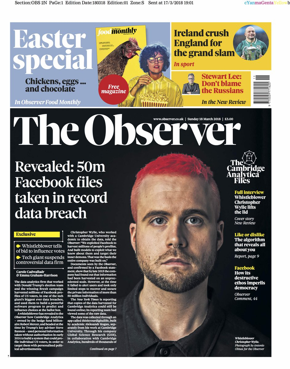 The Observer front page, Sunday 18 March 2018: Revealed: 50m Facebook files taken in record data breach