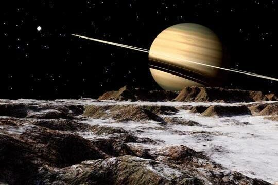 #Space #Art: #Saturn seen from icy moon #Rhea https://t.co/DAtF0eVU05 by Ron Miller