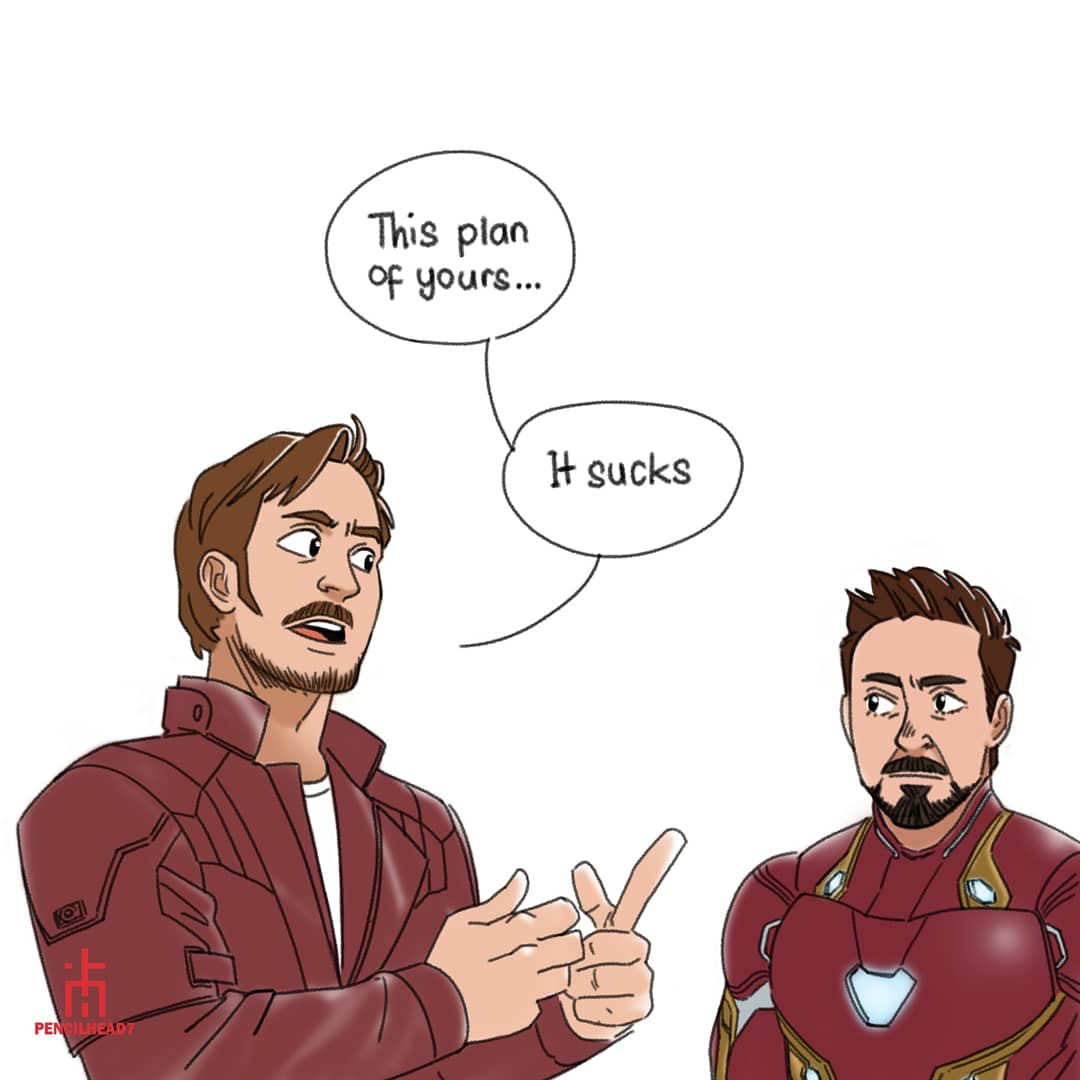 Tony's face when Star Lord says his plan...
