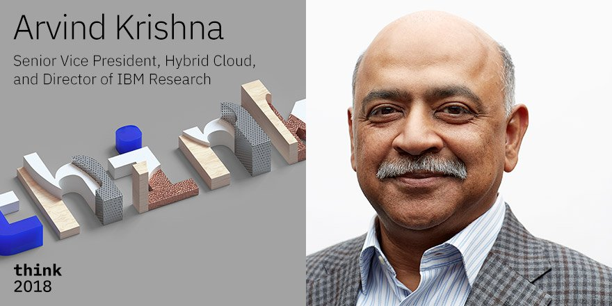 Watch the Stream LIVE, March 20th, 2:30-3:30 PM PST!  AI, quantum computing, blockchain and more. That's a long list of impressive specialties, & Arvind Krishna, SVP of Hybrid Cloud and director of IBM Research, can tell you about all of them at  #think2018https://t.co/xcCxh0Lx0v