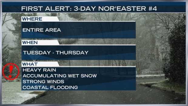 Philadelphia, South Jersey and Delaware, we are so sorry to deliver this news. But yes, one more nor'easter is headed our way -- just in time for the Tuesday morning commute. Here's @SteveSosna4NY's updated forecast. https://t.co/dGesb17STW