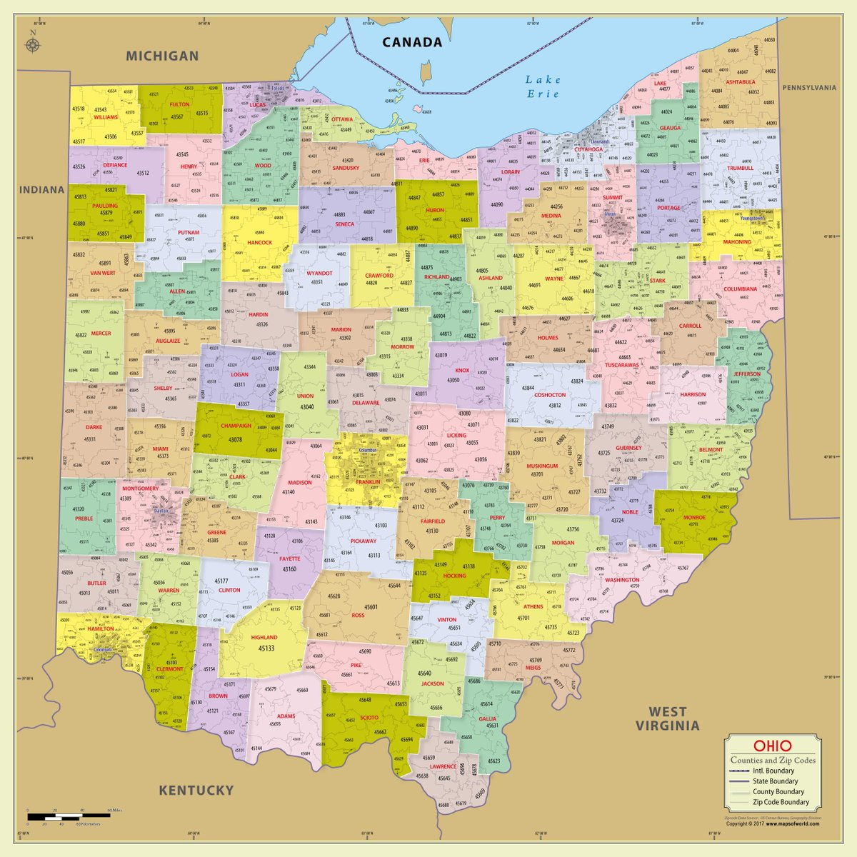 World Map Store On Twitter The Ohio Zip Code Map With Counties
