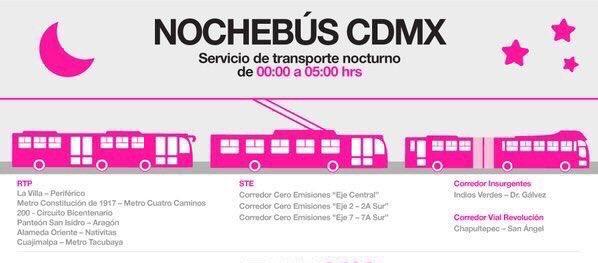 Transporte público nocturno. Te compartimos las rutas de #NochebúsCDMX, que opera durante todo el año >> https://t.co/qFihZWkxCB