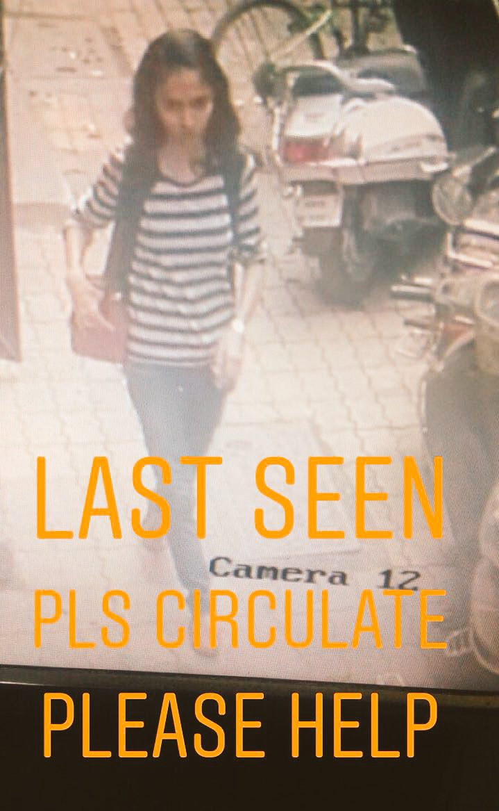 Just to update you that Kirti has not yet been found. Sharing this image of the last sighting of her. Please do share. Thank you.