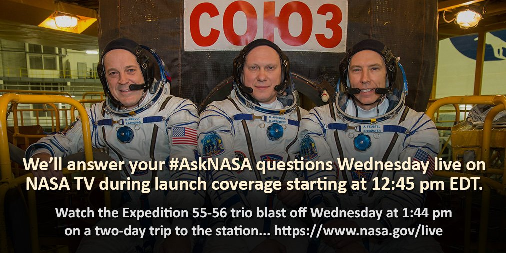 Watch @NASA TV Wednesday at 12:45pm ET to see @astro_ricky, @Astro_Feustel and @OlegMKS blast off on a two-day trip to the station. We'll answer your #AskNASA launch questions too! https://t.co/yuOTrYN8CV
