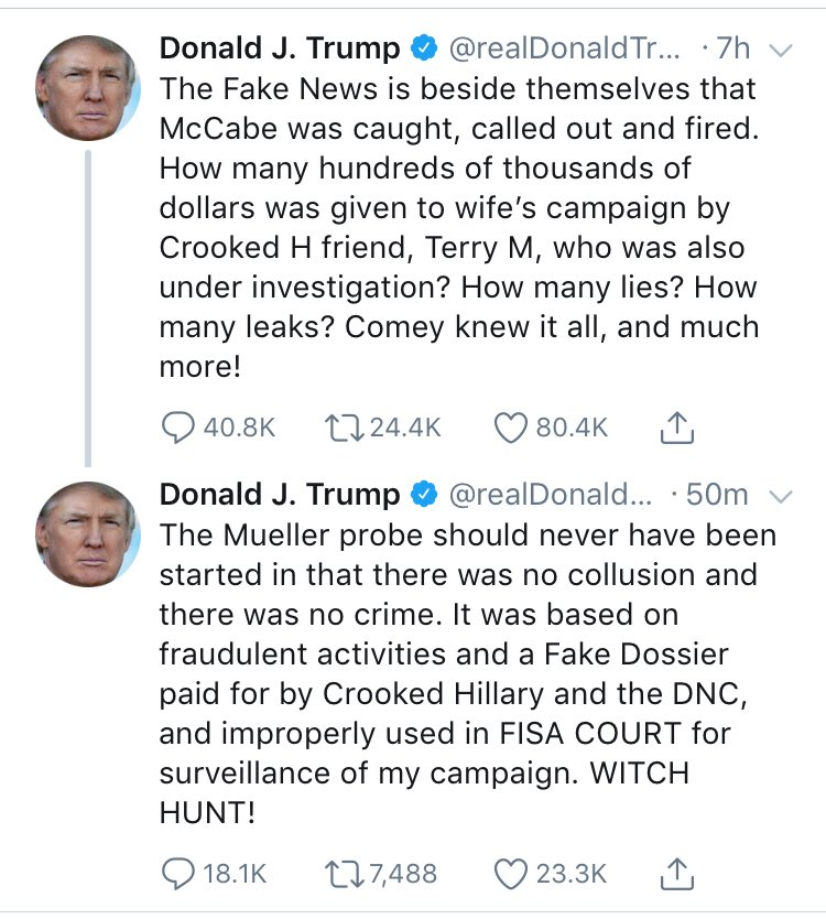 "Trump threaded his tweet on the firing of McCabe to the tweet on his anger about the Mueller probe, and now it seems like we're going to get history's first ""threading does not imply an actual link, he just threads things for no reason"" statement from the White House podium."