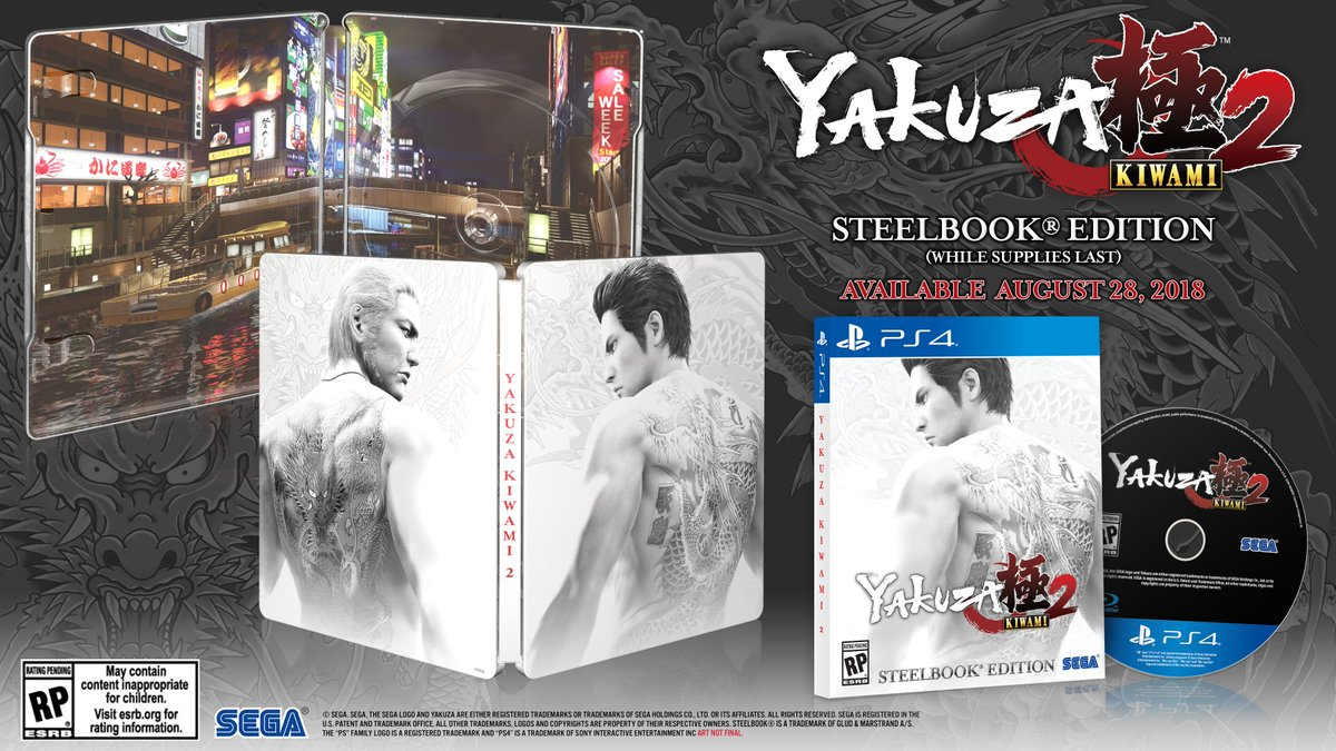 On August 28th, two dragons will clash. Get a first look at the #YakuzaKiwami2 SteelBook Edition in the pic below. Visit the official site at https://t.co/PEt67cSLqt
