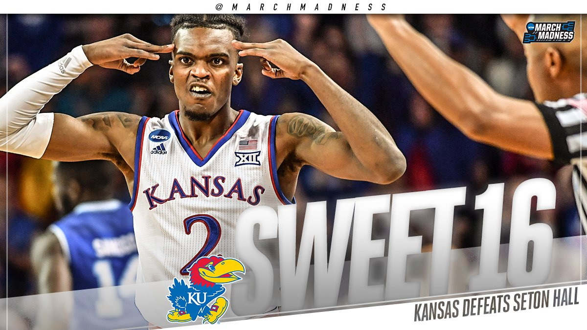 ROCK CHALK!  (1) Kansas earns another trip to the #Sweet16 with the 83-79 win over (8) Seton Hall! #MarchMadness