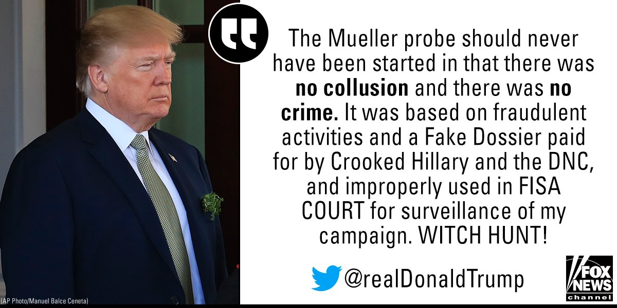 Earlier, President @realDonaldTrump decried special counsel Robert Mueller's investigation into Russian meddling in the 2016 election.
