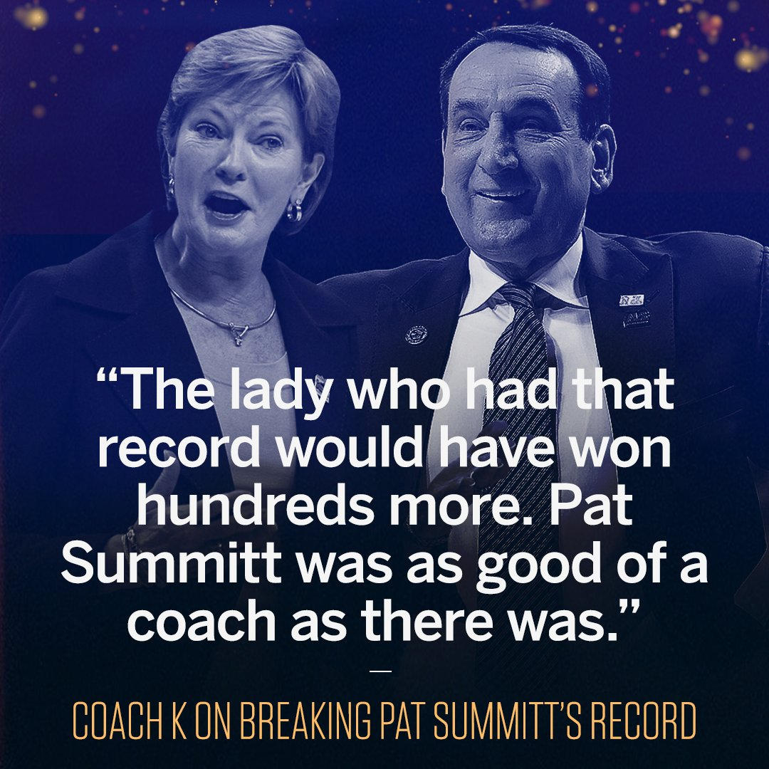 Coach K had some kind words for the late Pat Summitt after passing her for the most wins in D-1 history.