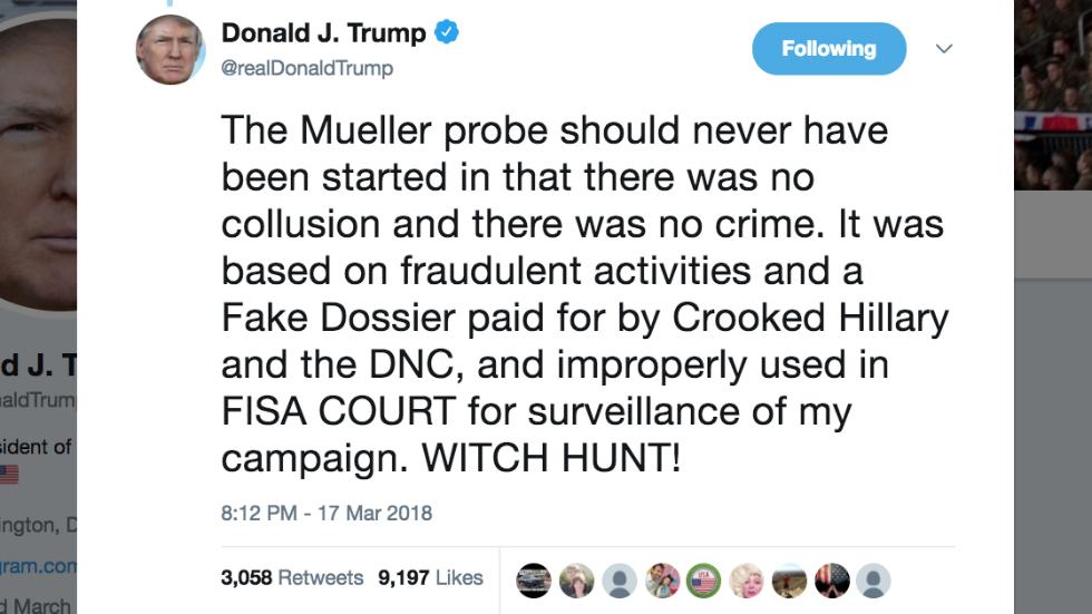 Trump: 'Mueller probe should never have been started' https://t.co/55mHdURbIP