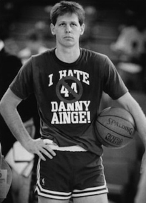 """Happy birthday to Danny Ainge! Never forget when he wore an \""""I Hate Danny Ainge\"""" shirt. Classic."""