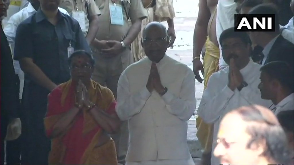 Odisha: President Ramnath Kovind, wife Savita and Union Minister Dharmendra Pradhan at Jagannath Temple in Puri