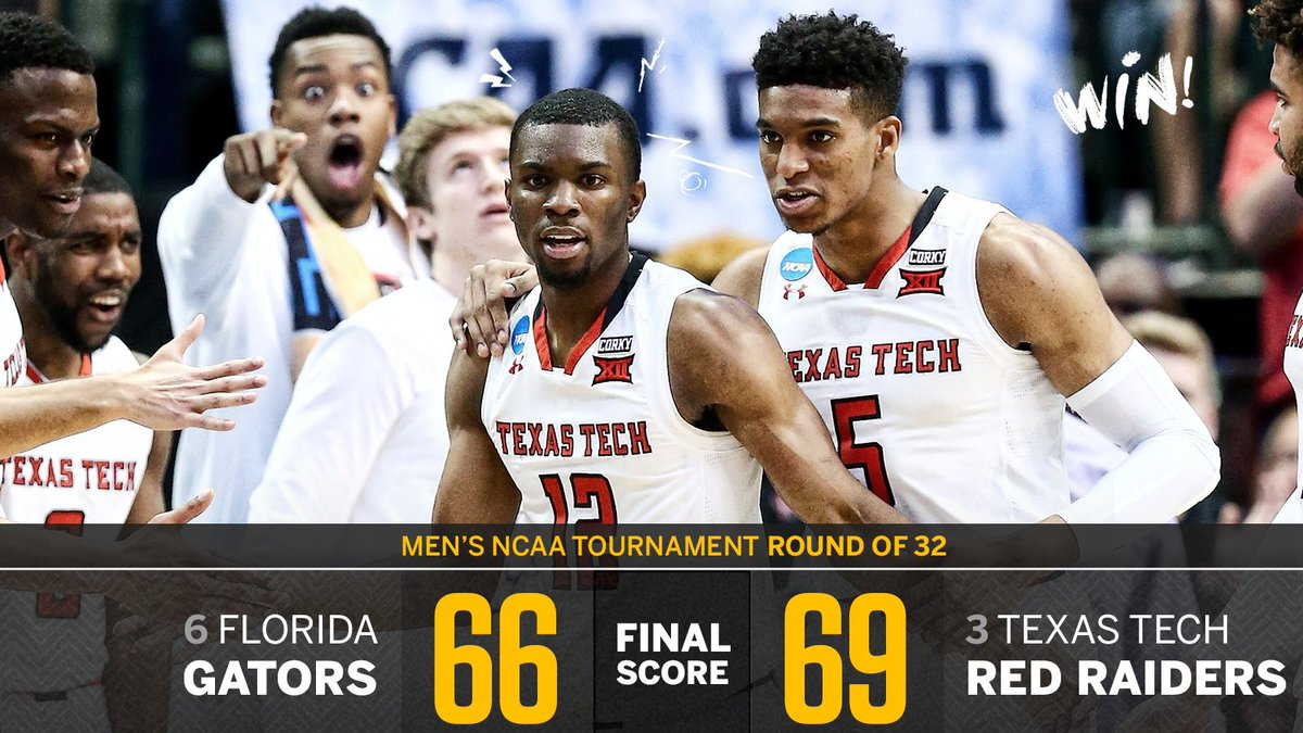Tech survives!   The Red Raiders are going to the Sweet 16 for the first time since 2005 after beating the Gators.