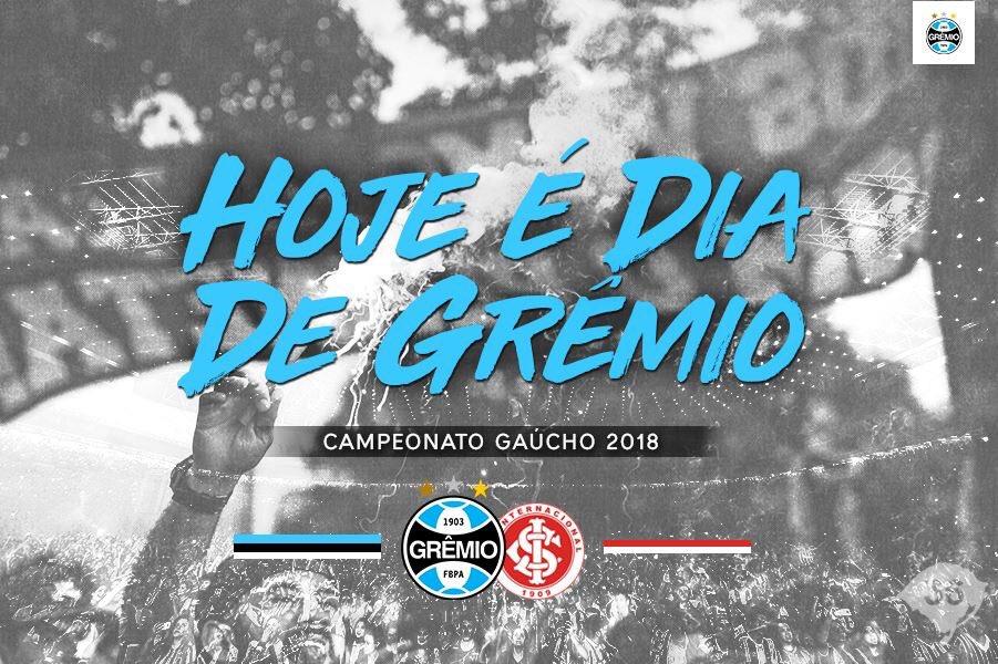 🇪🇪 HOJE É #DiaDeGrêmio 💪 🆚 Internacional 🏟️ Arena do Grêmio ⌚️ 16h 🏆 #Gauchão2018 #⃣ #GreNal414  ➡️ Informações: https://t.co/fh8hWBOC0l 🇪🇪⚽💪🏽 #VamosTricolor