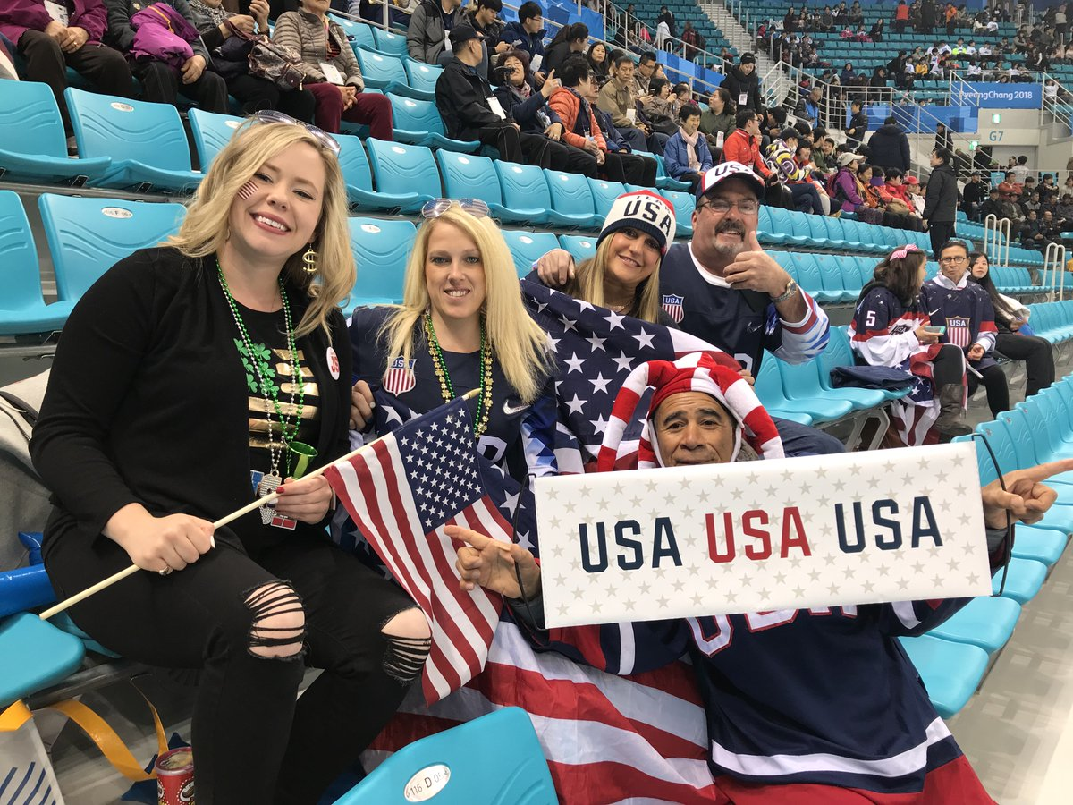 We spotted some #TeamUSA fans decked out in red, white and blue! 🇺🇸 🇺🇸  #TeamUSARollCallRollCall ➡️ Who's cheering from the U.S.?