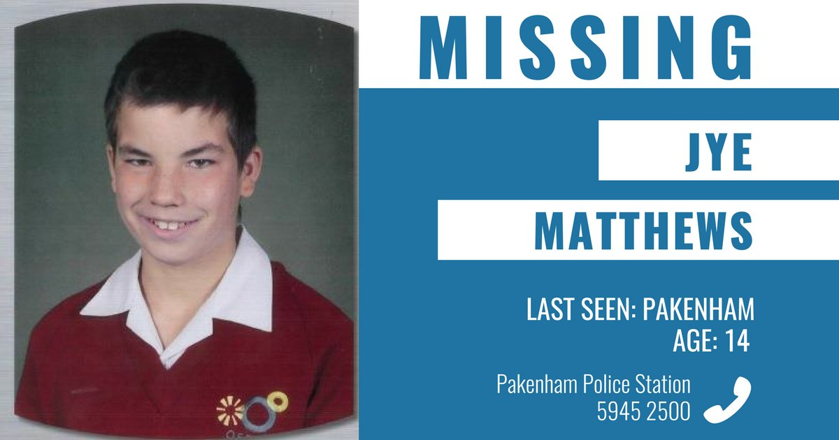 Police are appealing for public assistance to help locate missing Pakenham teenager Jye Matthews. More ➜ https://t.co/KsaYTDwcWr